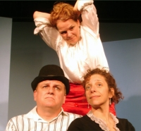 Noah Gregoropolous, Ellen Stoneking and Jennifer Estlin in 40 Whacks at the Annoyance Theatre